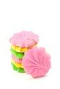 Mantequilla colorida sugar cookies on white Fotografía de archivo libre de regalías