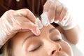 Manual facial cleansing. Royalty Free Stock Photo