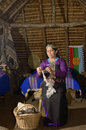 Manual spinning mapuche woman makes sheep s wool Stock Photos