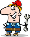Manual worker cartoon illustration of funny with wrench profession occupation Stock Photos