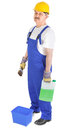 Manual worker with green liquid over whit ebackground Royalty Free Stock Photography