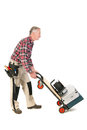 Manual worker with heavy toolkit senior man as driving his Royalty Free Stock Photos