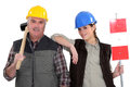 Manual worker and his trainee a Royalty Free Stock Photos