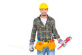 Manual worker holding various tools over white background Stock Images