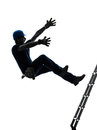 Manual worker man falling from ladder silhouette one in on white background Royalty Free Stock Photo