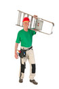 Manual worker with stepladder senior man as isolated over white background Royalty Free Stock Photo