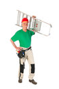 Manual worker with stepladder senior man as isolated over white background Royalty Free Stock Images