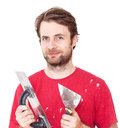Manual worker with wall plastering tools isolated on white portrait of happy smiling caucasian forty years old background Royalty Free Stock Photos