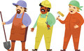 Manual workers three cartoon proffesional occupation Stock Photos