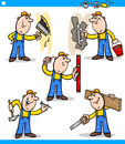 Manual workers or workmen characters set Royalty Free Stock Photo