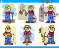 Manual workers or workmen characters set cartoon illustration of funny at work Stock Image