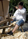 The manufacture of shingles young man is producing during festival craftsmen days uluv in summer in bratislava slovakia festival Stock Photography