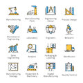 Manufacturing Engineering Icons - Outline Series Royalty Free Stock Photo