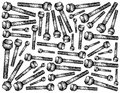 Hand Drawn Sketch of Hex Bolts Background Royalty Free Stock Photo