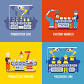 Manufacturing industry, production line, factory worker vector flat concepts set