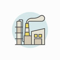 Manufacturing plant colorful icon