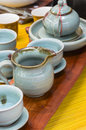 Manufacturing tea set of ware Royalty Free Stock Photos