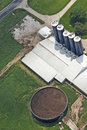 Manure Tank on Dairy Farm Aerial View Detail Royalty Free Stock Photo