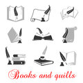 Manuscript books with quills and ink quill education or knowledge black set of icons calligraphy of handwritten or typewritten Royalty Free Stock Photo