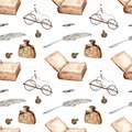 Manuscript watercolor seamless pattern with ancient book, glasses, pen, inkwell Royalty Free Stock Photo