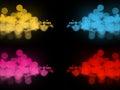 Many abstract colorful bokeh circles on dark Royalty Free Stock Photo
