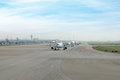 Many airplane prepare takes off from the runway in airport. Royalty Free Stock Photo