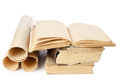 Many ancient scrolls and old books Royalty Free Stock Photos