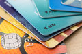 Many bank cards close up Stock Images