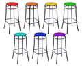 Many bar chairs in colors of rainbow, collage Stock Photography