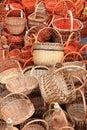 Many beautiful wooden wicker baskets Stock Photos