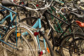 Many bicycles parked in the city Royalty Free Stock Photography