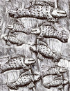 Many black and white fishes, fish pattern drawing