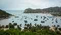 Many boats at Vinh Hy bay in Phan Ri, Vietnam Royalty Free Stock Photo