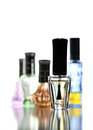 Many Bottle with Perfume different color isolated. Royalty Free Stock Images