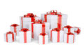 Many boxes of gifts decorated with red ribbons Royalty Free Stock Photos