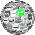Many brands one unqiue best brand sphere top choice a or ball containing different with glowing green to represent the or in a Royalty Free Stock Image