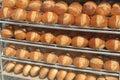 Many breads on shelves Royalty Free Stock Photo