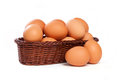 Many brown eggs in basket Royalty Free Stock Photo