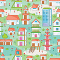 Many building seamless pattern illustration of with natural background Royalty Free Stock Image