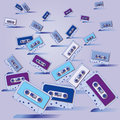 Many cassette tapes and music party Royalty Free Stock Photo