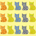 Many cats sit bright ornamental Royalty Free Stock Photos