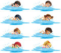 Many children swimming in the pool Royalty Free Stock Photo