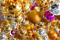 Many christmas balls in different color Royalty Free Stock Photo