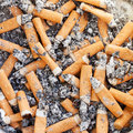 Many cigarette butts close up in ash receiver Royalty Free Stock Photography