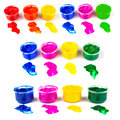 Many color paint cans and color dabs of paint, set Royalty Free Stock Photo