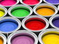 Many color paint cans