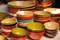 Many color and size wooden bowl Royalty Free Stock Photography