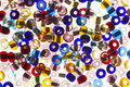 Many-colored mix of beads Stock Image