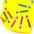 Many colored pen and paper yellow note Royalty Free Stock Image
