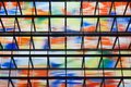 Many colored windows inside a modern building Royalty Free Stock Images